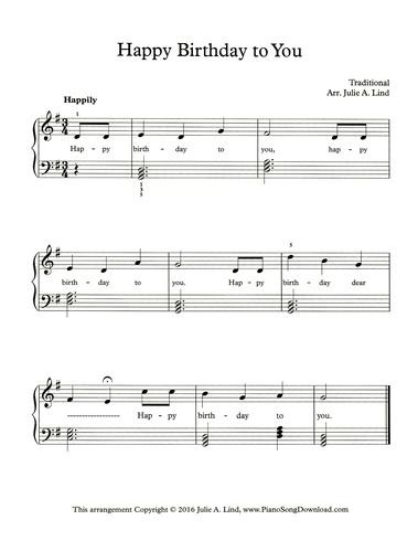 Happy Birthday Free Easy Piano Sheet Music With Chords And Lyrics