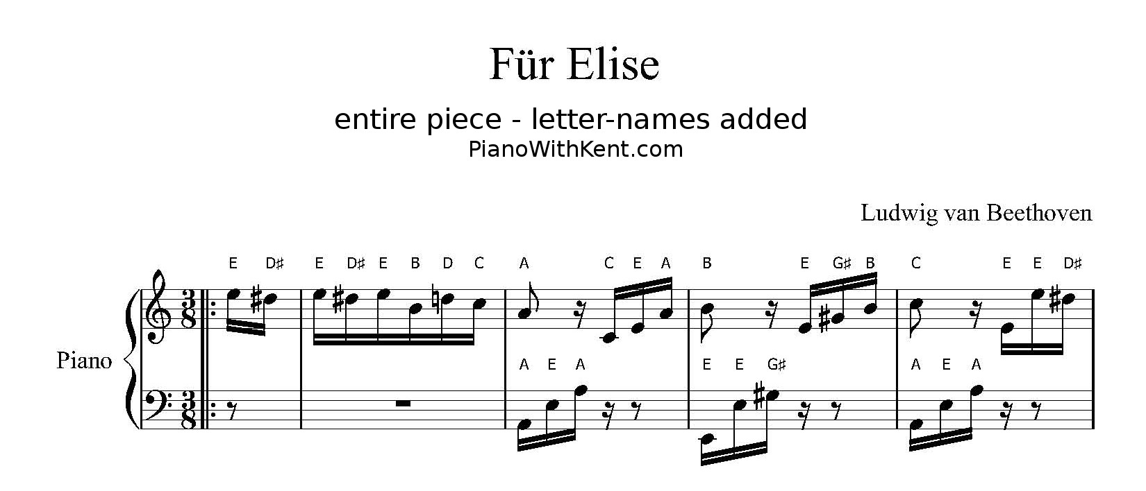 Piano Sheet Music With Letters Instead Of Notes