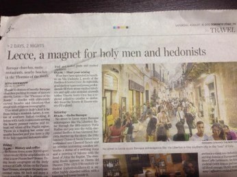 """Lecce sul """"Toronto Star"""""""