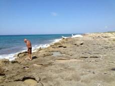 Barca naufragata a Punta pizzo - In effetti, in precedenza il natante, ormai abbandonato dal propietario, originario di Racale e soccorso dalla Guardia costiera, era stato sbattuto sugli scogli nel punto indicato dalla persona nella foto
