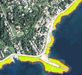 Santa Maria al Bagno. In verde le zone idonee per lidi e stabilmenti balneari