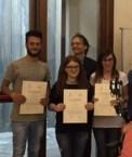 """I secondi classificati, l'Istituto superiore neretino """"Moccia"""". Gli studenti Grazia Scrascia, Maria Pisanello, Matteo De Braco"""