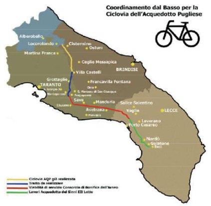 È tutta sostenibile e naturale quest'ultima offerta turistica che utilizza strade di servizio già realizzate dall'Ap lungo 110 chilometri di tragitto; capolinea tra Galatone e Seclì