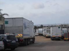 I camion della troupe a Casarano