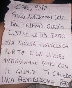 una lettera per Papa Francesco