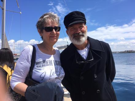 La dirigente Antonia Perrone con l'attore Riccardo Acerbi (in arte Capitan Findus)