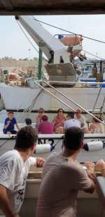 Giacomo Poretti e Giovanni Storti in barca a Leuca