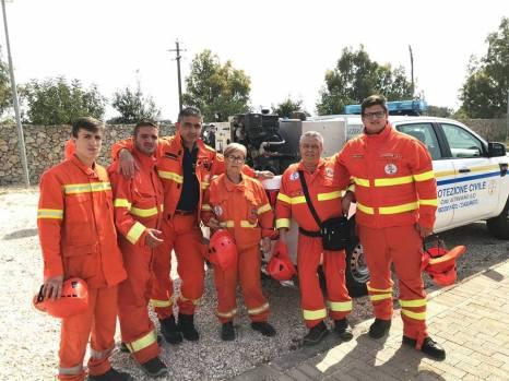 Una squadra della Protezione civile di Taviano