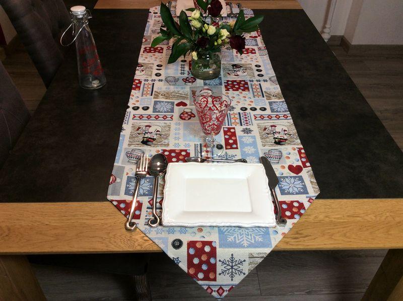 chemin de table patch bonhommes de neige et moufles 48x170 cm polycoton jacquard