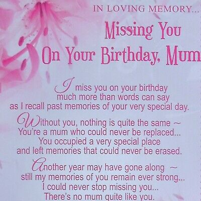 Missing You On Your Birthday Mum Graveside Memorial Card Keepsake Poem Free P P 2 35 Picclick Uk