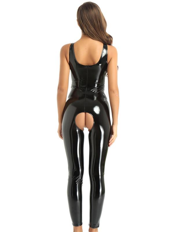 sexy femme body combinaison ouverte entrejambe en cuir verni brillant catsuit