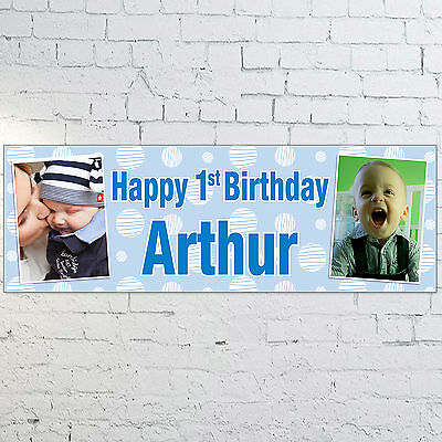 Personalised 1st Birthday Photo Banner 3ft X 1ft Blue Pink Boys Girls 9 99 Picclick Uk