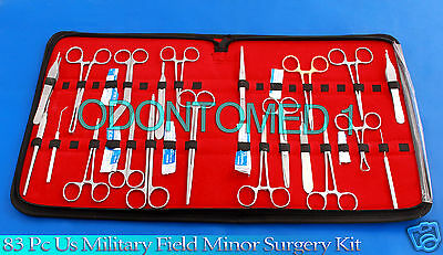 172 PC US Military Field Minor Surgery Surgical Veterinary Dental     83 Pc Us Military Field Minor Surgery Surgical Veterinary Dental Instrument  Kit