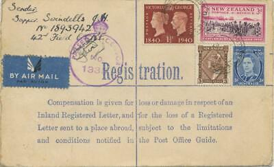 GB 1942 forces PS registered env GVI 3d uprated w GB + AUSTRALIA + NEW ZEALAND