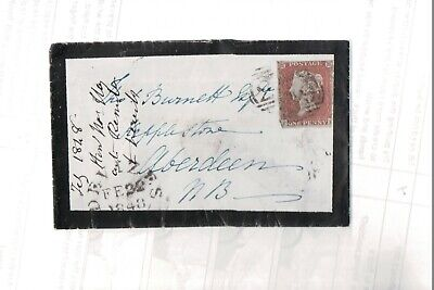 1848 1d Red on Small Mourning Envelope to Aberdeen ~ Nice Black Wax Seal