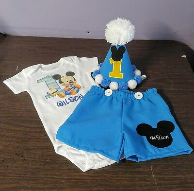 Baby Blue Mickey Mouse Outfit For First Year Birthday Boy 60 00 Picclick