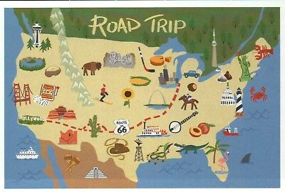 U S  ROAD TRIP Map  Route 66  Space Needle  Hollywood etc     U S  Road Trip Map  Route 66  Space Needle  Hollywood etc