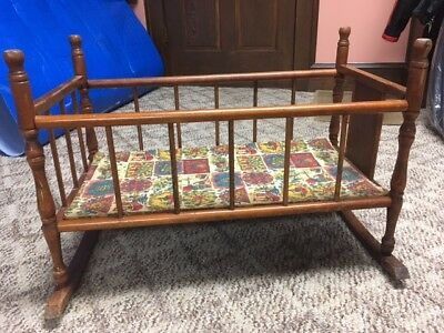 vintage wooden doll cradle by cass toy