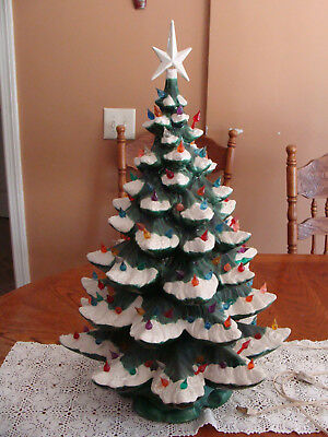 vtg large 26 ceramic christmas tree lighted and snow flocked w