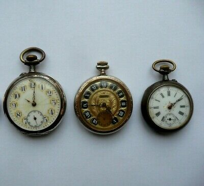 Lot of 3 Men's metal pocket watches Old mechanical