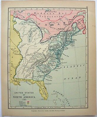 VINTAGE LONGMANS MAP of The United States of North America in 1783     Vintage Longmans Map of The United States of North America in 1783
