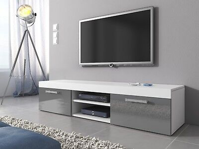 meuble tv armoire bas divertissement mambo 160 cm white matt grey high gloss