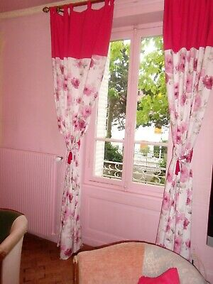 double rideaux blanc casse rose 2 embrasses cot poly 2m73 140 tbe ref ui