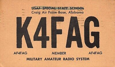 Craig Air Force Base Alabama ~ Krfag ~ Military Radio Amateur ~ 1952 QSL Postal