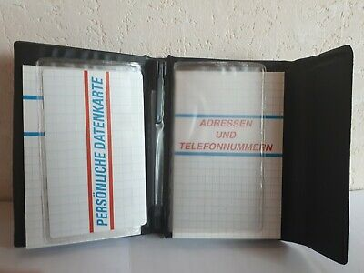 blue / black ADDRESS BOOK with notepad, pen and 4 slots for data cards-NEW!
