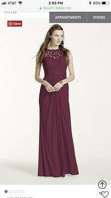 DAVIDS BRIDAL NEW bridesmaid dress F 12495 watermelon size 14     Davids bridal bridesmaid dress wine size 6 f15749