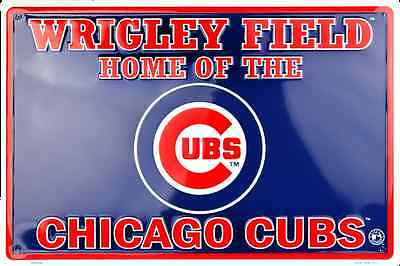 """Wrigley Field Sign 18"""" X 12"""" Embossed Metal Home Of The Chicago Cubs Man Cave"""