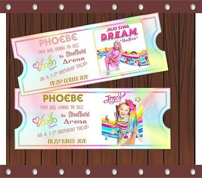 personalised jojo siwa ticket ideal for