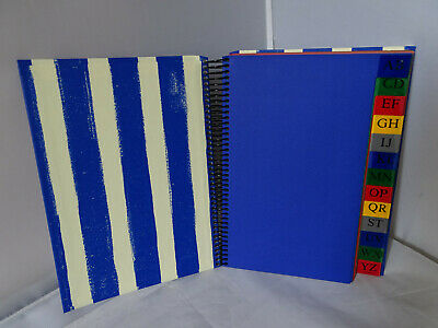 A5 notebook - address book, telephone book 15 x 21 cm with register - blue colored pages