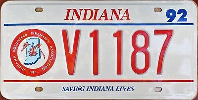 US LICENSE PLATE - INDIANA FIREMEN'S USA