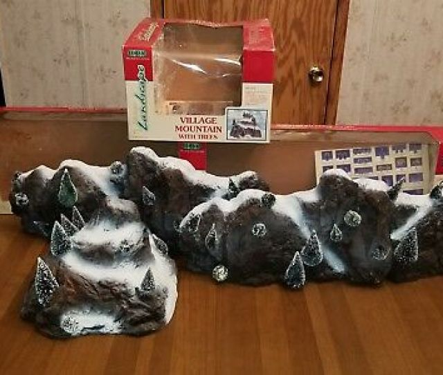 Lemax Village Mountain And Mountain Backdrop Lot  Christmas Village Accessories