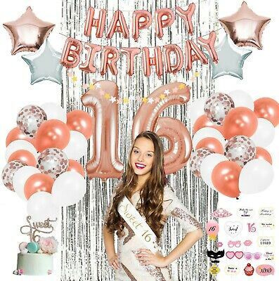 Happy 16th Birthday Banner Rose Gold 16 Years Old Birthday Party Decorations Supplies Celebration Backdrop Banners Stickers Confetti Banners Clinicadelpieaitanalopez Com