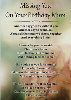 Missing You On Your Birthday Mum Memorial Graveside Poem Card Free Stake F429 2 99 Picclick Uk
