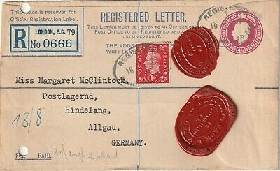 1937 GVI registered cover sent from Barclays London to Hindelang Germany