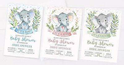 10 Personalised Baby Shower Invitations Cute Elephant Pink Blue Green