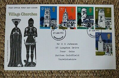1972 Village Churches Post Office First Day Cover Birmingham Postmark