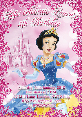 10 X Personalised Party Birthday Party Invitations Or Thank You Cards Snow White 7 57 Picclick