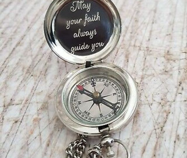 Silver Engraved Compass Engraved Compass Personalized Compass Baptism Gift