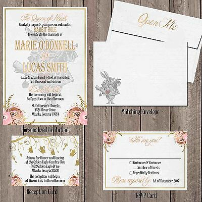 Alice In Wonderland Vintage Wedding Invitation Set Pink Gold Personalized Custom