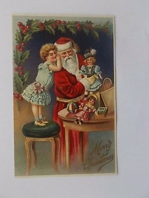 Vintage Christmas Card With Floral Painting And A Ship