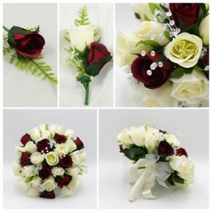 SILK ARTIFICIAL WEDDING Flowers Burgundy   Ivory Bouquet Posy Table     Silk Artificial Wedding Flowers Burgundy   Ivory Bouquet Posy Table  Decoration