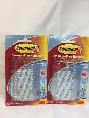 NEW  3M COMMAND Decorating Deco Clips Clear 20 Clips 24 Mini Strips      2  Command Decorating Clips Clear 20 Clips   24 Mini Strips 17026CLR