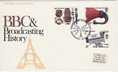 GB Stamps First Day Cover Broadcasting Anniversaries, BBC,TV SHS radio mast 1972