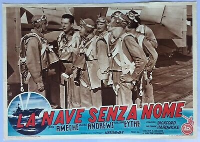 fotobusta 3 THE SHIP WITHOUT A NAME Wing and Prayer og Italy 1955 Fox lobby card
