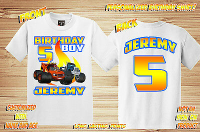 Blaze And The Monster Truck Machines Personalized Birthday Shirt Custom Party 18 00 Picclick