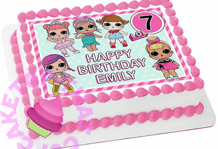 Lol Dolls Premium Edible Rectanglesquare Cake Topper Birthday